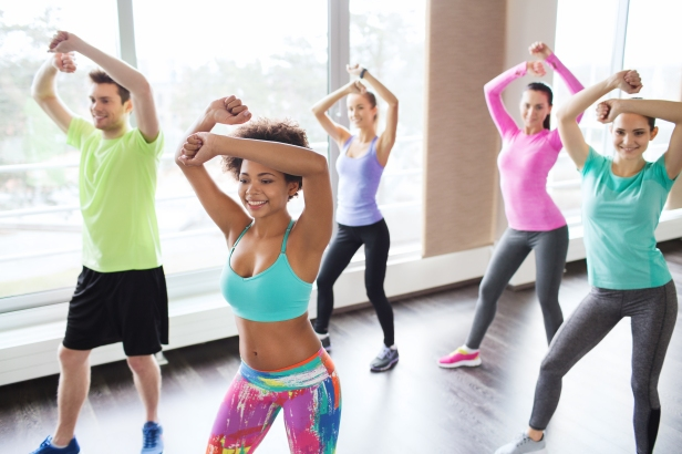 fitness, sport, dance and lifestyle concept - group of smiling p